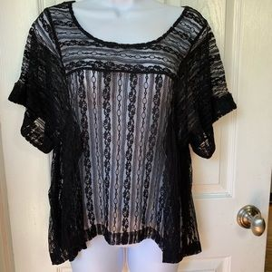 25f94854ec1038 FREE PEOPLE Black Lace Flutter Top Shirt Small ...